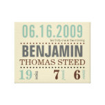 Baby's Birth Date Details Canvas - Sand & Sea Gallery Wrapped Canvas
