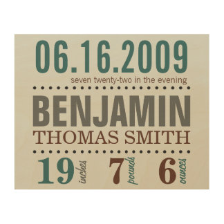 Baby's Birth Date Details - Sand & Sea Wood Canvases