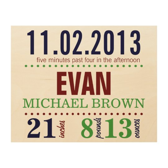 Baby's Birth Date Details - Sport Wood Wall