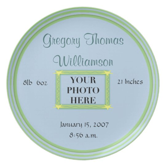 Baby's Birth Keepsake Plate - Green/Blue