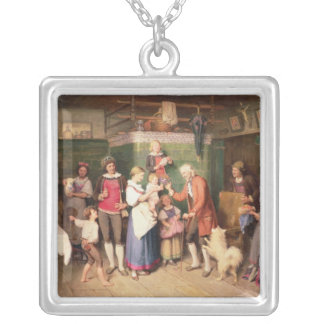 Baby's birthday party silver plated necklace