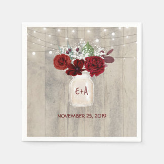 Baby's Breath and Burgundy Floral Mason Jar Rustic Paper Napkin