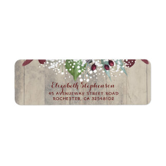 Baby's Breath and Burgundy Flowers Rustic Return Address Label