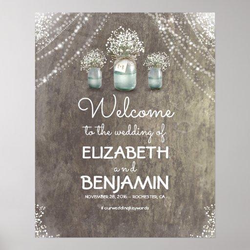 Baby's Breath and Mason Jar Wedding Welcome Sign