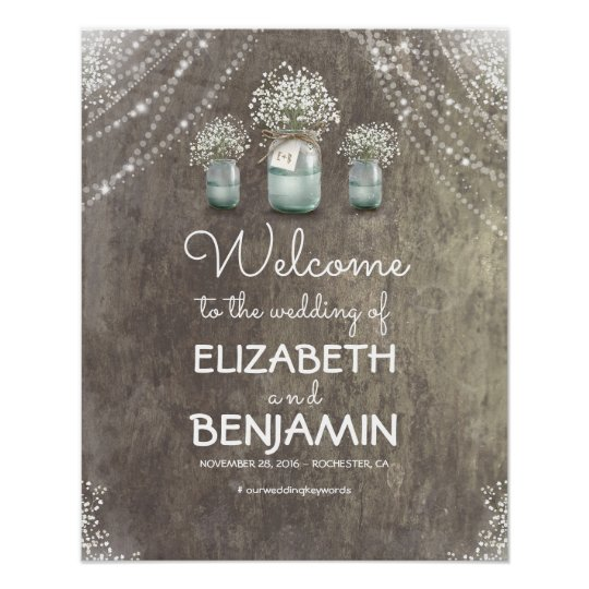 Baby's Breath and Mason Jar Wedding Welcome Sign Poster