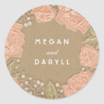 Baby's Breath and Roses Floral Bouquet Wedding Round Sticker