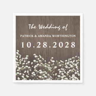 Baby's Breath Barn Wood Wedding Napkins Paper Serviettes