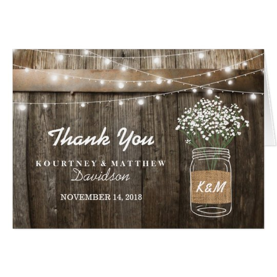Baby's Breath Barrel Country Rustic Thank You Card