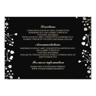 Baby's Breath Black Wedding Details - Information 11 Cm X 16 Cm Invitation Card