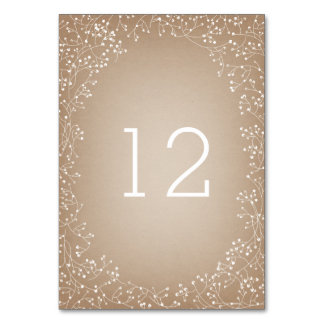 Baby's Breath Card Stock Inspired Table Number