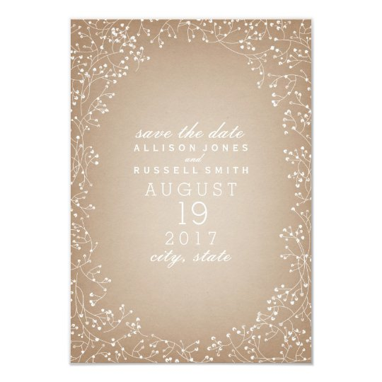 Baby's Breath Cardstock Inspired Save The Date Card