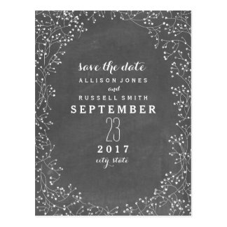 Baby's Breath Chalkboard Inspired Save The Date Postcard