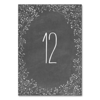 Baby's Breath Chalkboard Inspired Table Number Table Card