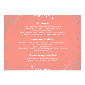 Baby's Breath Coral Silver Wedding Details Card