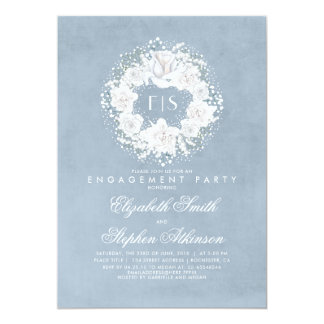 Baby's Breath Dusty Blue Floral Engagement Party Card