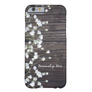 Baby's Breath Floral & Dark Rustic Wood Barely There iPhone 6 Case