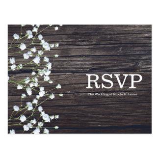 Baby's Breath Floral & Dark Rustic Wood RSVP Postcard