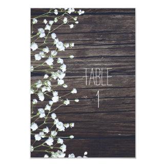 Baby's Breath Floral Dark Rustic Wood Table Number