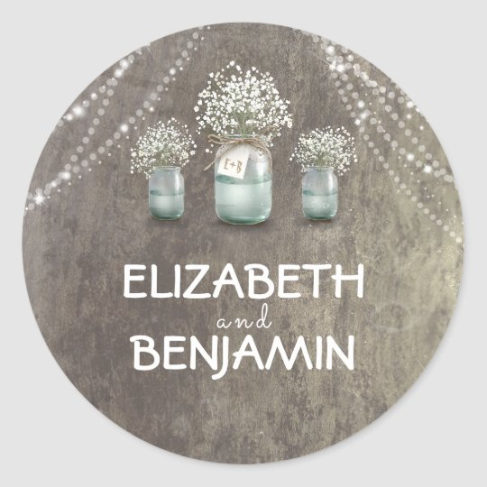 Baby's Breath Floral Mason Jar Rustic Wedding Classic Round Sticker