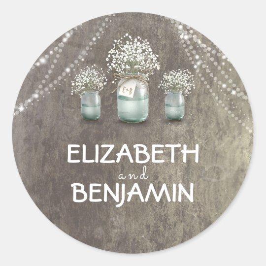 Baby's Breath Floral Mason Jar Rustic Wedding Round Sticker