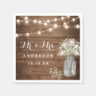 Baby's Breath Floral Mason Jar Rustic Wood Wedding Paper Napkin