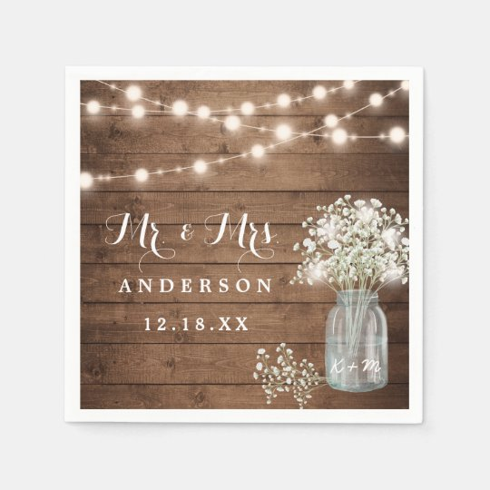 Baby's Breath Floral Mason Jar Rustic Wood Wedding