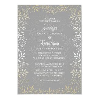 Baby's Breath Foil Wedding 13 Cm X 18 Cm Invitation Card
