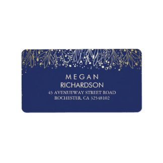 Baby's Breath Gold and Navy Florals Wedding Address Label