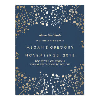 baby's breath gold and navy save the date postcard