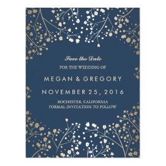 Gold and navy save the date postcard