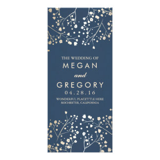 Baby's Breath Gold and Navy Wedding Programs Rack Card