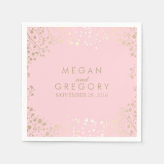Baby's Breath Gold and Pink Floral Wedding Paper Serviettes