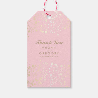 Baby's Breath Gold and Pink Wedding Gift Tags