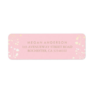 Baby's Breath Gold and Pink Wedding Return Address Label