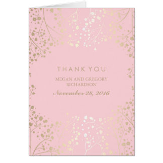 Baby's Breath Gold and Pink Wedding Thank You Card