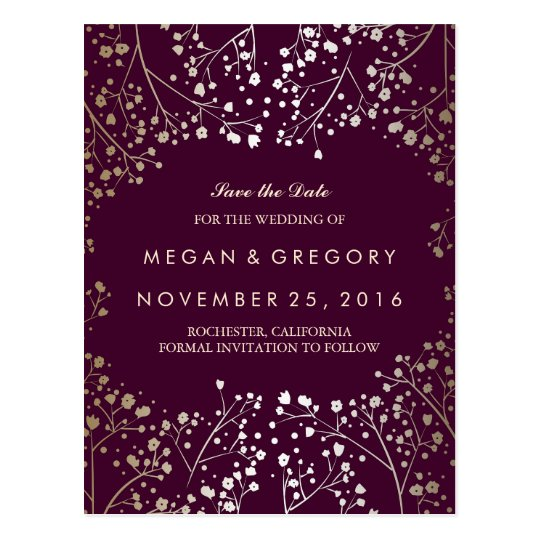 baby's breath gold and plum save the date postcard