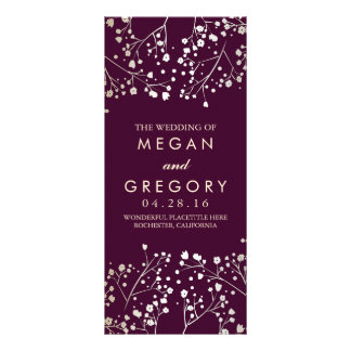 Baby's Breath Gold and Plum Wedding Programs Rack Card