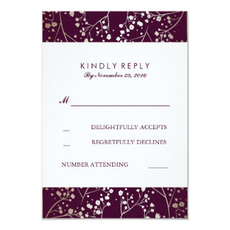 Baby's Breath Gold and Plum Wedding RSVP Cards