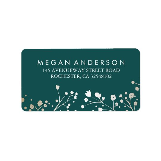Baby's Breath Gold and Teal Wedding Label