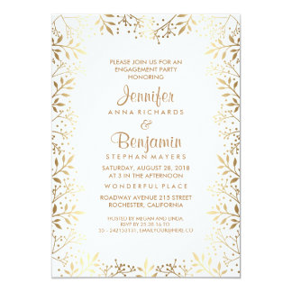 Baby's Breath Gold and White Engagement Party 13 Cm X 18 Cm Invitation Card