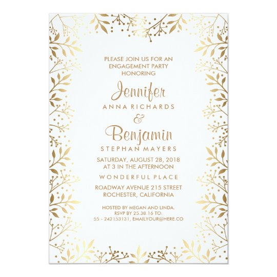 Baby's Breath Gold and White Engagement Party Card