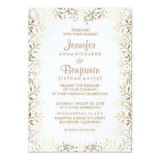 Baby's Breath Gold and White Wedding 13 Cm X 18 Cm Invitation Card