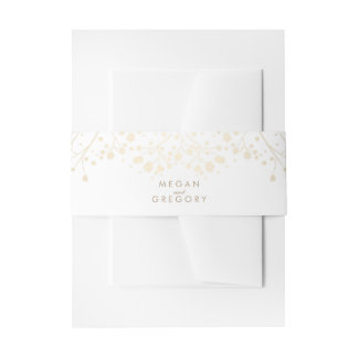 Baby's Breath Gold and White Wedding Invitation Belly Band