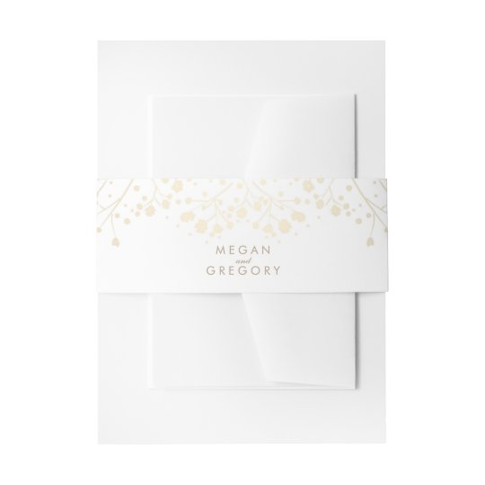 Baby's Breath Gold and White Wedding Invitation Belly