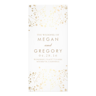 Baby's Breath Gold and White Wedding Programs Rack Card