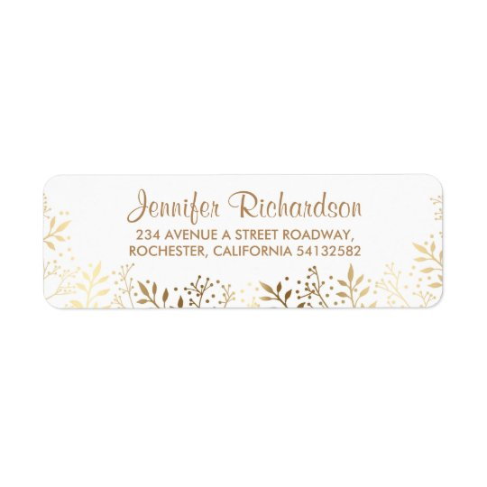 baby's breath gold and white wedding return address label