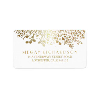Baby's Breath Gold Floral Elegant Wedding Address Label