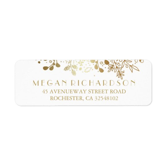 Baby's Breath Gold Floral Elegant Wedding Return Address
