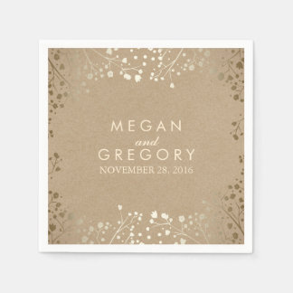 Baby's Breath Gold Floral Wedding Disposable Napkins