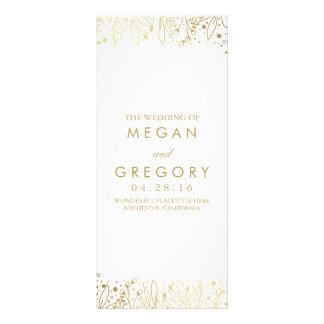 Baby's Breath Gold Floral Wedding Programs Rack Card